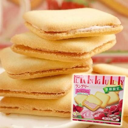日本饼干曲奇Languly依度云呢拿好吃夹心饼干138g 草莓味 平价版白色恋人 冬季限定版