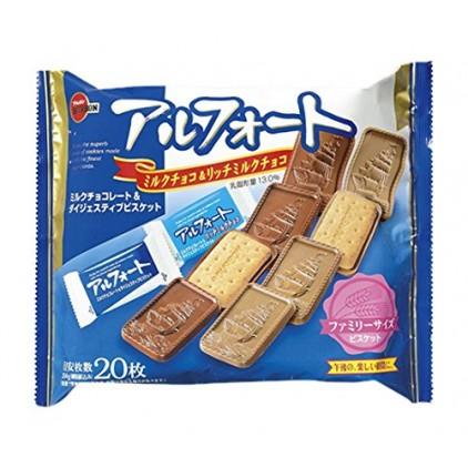 日本BOURBON布尔本帆船夹心香浓小麦牛奶巧克力饼干204g 混合口味装