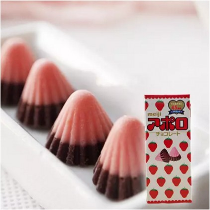 日本Meiji明治草莓牛奶阿波罗太空船小伞巧克力 情人节
