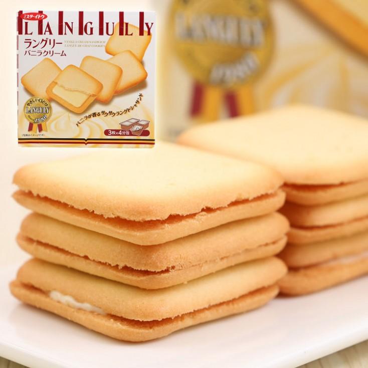 日本饼干曲奇Languly依度云呢拿好吃夹心饼干138g 平价版白色恋人 冬季限定版