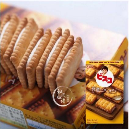 日本glico固力果乳酸菌发酵黄油奶油乳酸菌夹心饼干 15枚 含乳酸菌有益肠道