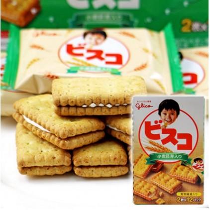 日本glico固力果乳酸菌小麦胚芽夹心饼干 含乳酸菌有益肠道24枚超值装