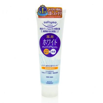 日本kose高丝softymo美白高保湿卸妆洗面奶 洁面乳190g 白色美白保湿款
