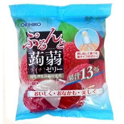 日本orihiro魔芋果冻蒟蒻果冻荔枝水果味 低卡高纤 6个