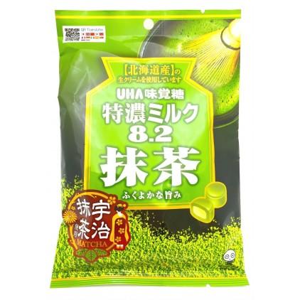 日本零食悠哈UHA 特浓8.2宇治抹茶牛奶夹心糖84g