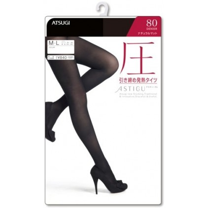 日本本土厚木ATSUGI美腿袜 连裤袜 80D 压力丝袜 发热保暖 分段压力塑腿 黑色款