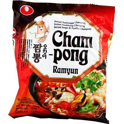 韩国农心鲜鱿鱼面Cham-pong 辛拉面/NONGSHIM Soupe de nouilles saveur Cham-pong 124g