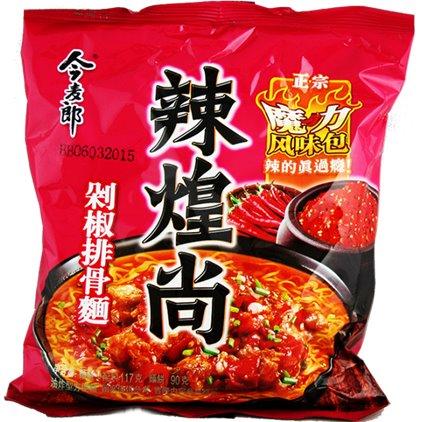今麦郎辣煌尚剁椒排骨面 / JinMaiLang Soupe de nouilles à saveur de travers de porc épicé 117g