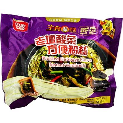 白家方便粉丝老坛酸菜 / Baijia VERMICELLE à saveur de choucroute beuf 110g