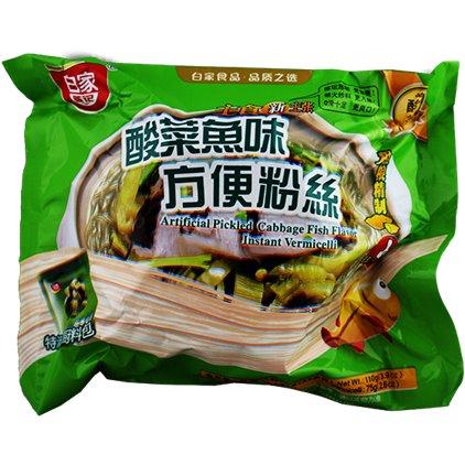 白家方便粉丝(酸菜鱼味) / Baijia VERMICELLE à saveur de choucroute poisson 110g