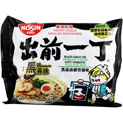 香港出前一丁黑蒜油猪骨汤面 / NISSIN Soupe de nouilles à saveur de Tonkotsu l'huile d'ail noir 100g