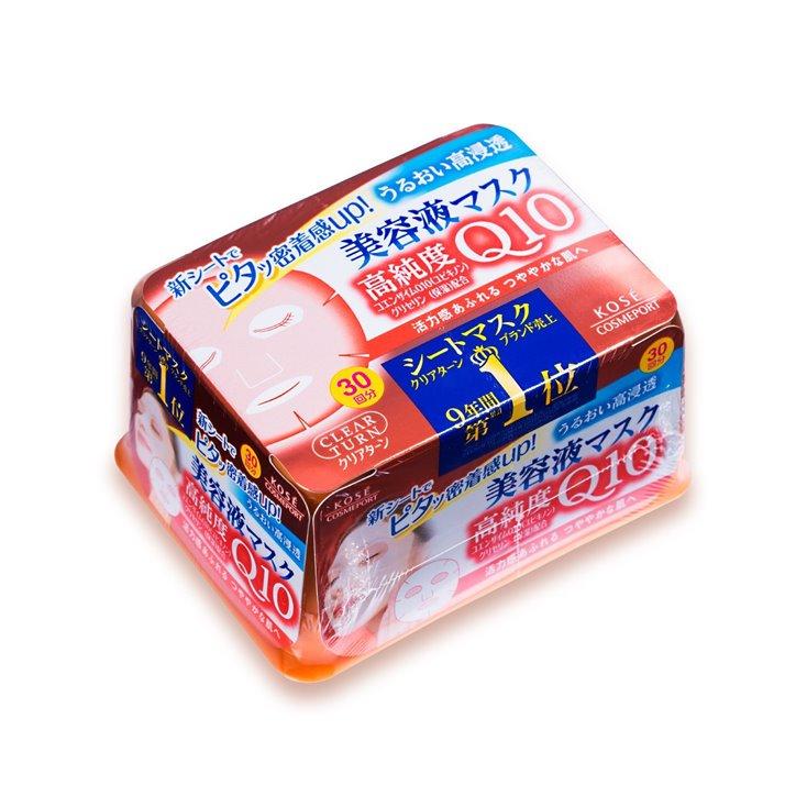 日本新版高丝KOSE高浓度Q10活力光泽浓润面膜贴 抽取式面膜-30回 紧致活肤嫩白保湿