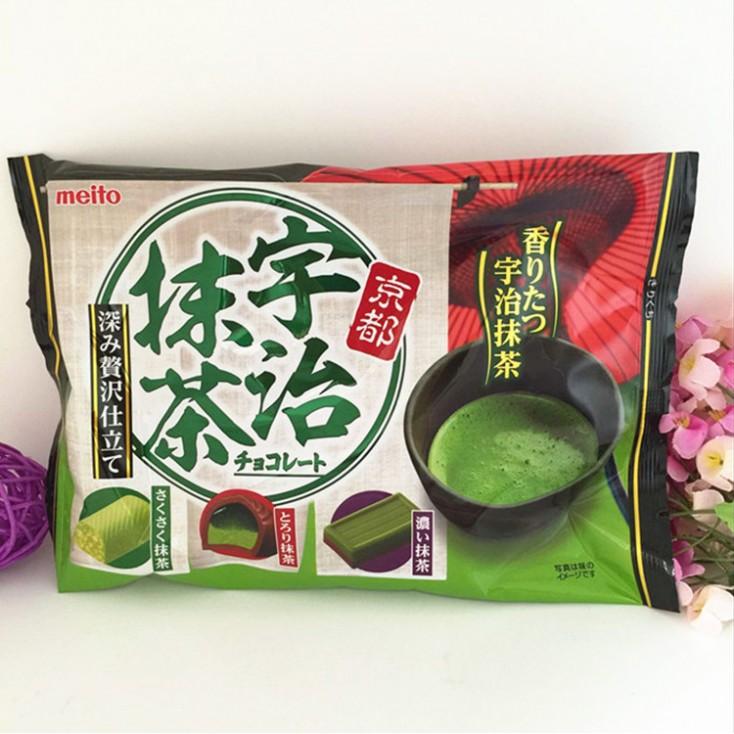 日本Meito名糖浓厚京都宇治抹茶三种口味巧克力140g 超级推荐给抹茶控