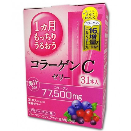 日本限定毎日の美容 大塚肌C Placenta C Jelly鱼骨胶原蛋白+VC+玻尿酸胶原蛋白美容果冻10g*31日量 混合果汁味